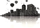 Silhouette,Urban Scene,City,York - Pennsylvania,Light - Natural Phenomenon,Sky,Image,Built Structure,Bird,Cityscape,Airplane,Paint,Town,Business,District,Building - Activity,Horizon Over Water,Urban Skyline,Sign,Hot Air Balloon,Building Exterior,Downtown District,Computer Icon,Art,Empire State Building,Modern