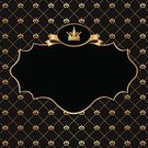 Crown,Gold Colored,Picture Frame,Luxury,Label,Ribbon,Pattern,Black Color,Victorian Style,Silk