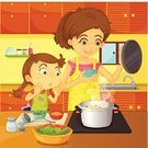 Child,Cooking,Food,Mother,Meal,Dinner,Family,Housework,Daughter,Surprise,Assistance,Sharing,Preparation,Parent,utencils,Soup,People,Apron,Female,Cabinet,Condiment,Young Adult,Domestic Life,Chores,task,Vegetable,Learning