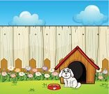Front or Back Yard,Kennel,Poodle,Computer Graphic,Grass,Dog,Puppy,Fence,Clip Art,Sky,Animal,Pets,Photograph,Red,Plant,Cloud - Sky,Food,Weed,Flower,Leaf,Blue,Wood - Material,Nature,Image,Brown
