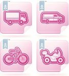 Symbol,Motorcycle,Truck,Transportation,Flamingo,Van - Vehicle,Bicycle,Industry,Sign,White,Vector,Mini Van,Freight Transportation,Delivering,Pink Color,Blue