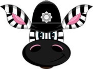 Ilustration,Peeler,Insignia,Cartoon,Vector,Characters,Clip Art,Animal,Horse,Zebra Print,Cute,Animal Ear,Wildlife,Police Force,Zebra,Uniform,British Culture,English Culture,Smiling,Law,Black Color,Striped,Isolated