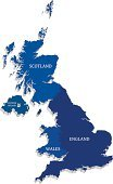 Map,UK,Scotland,England,Outline,Vector,Three-dimensional Shape,London - England,Europe,Wales,Gray,Northern Ireland,North,Island,countries,Blue,Land,Isolated,Ilustration,Symbol,Topography,Physical Geography,Computer Graphic,White