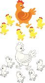 Black And White,Chicken - Bird,Nature,Red,Yellow,Family,Walking,Bird,brood-hen,Litter,cartoony,Drawing - Art Product,Coloring Book,Poultry,Outline,cartooning,over white,Clip Art,Hen,Animal,White Background,Ilustration,Baby Chicken,Vector,Young Bird,Cartoon
