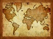 World Map,Map,Old,Cartography,Antique,Old-fashioned,Ancient,Retro Revival,Backgrounds,Textured,Dirty,Brown,Grunge,Ilustration,Brown Background,Textured Effect,Weathered,Physical Geography,Stained,Damaged,Travel Locations,Crumpled,Sports And Fitness