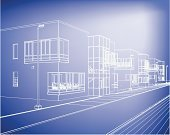 Construction Industry,Backgrounds,Blueprint,Architecture,Outline,Blue,Apartment,Abstract,Vector,Plan,Ilustration,Street,Residential District,Technology,Facade,wire-frame,Geometric Shape,Business