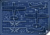 Blueprint,Airplane,Old-fashioned,Air Vehicle,Old,Diagram,Flying,Ultralight,Air Force,Engine,Transportation,Isolated,orthogonal,Piper,landed,orthographic,Helix Model,Coast Guard,Cessna,Wing,Planning