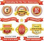Anniversary,Year,Number 10,25-29 Years,Placard,Banner,Celebration,Number 25,20-24 Years,Seal - Stamp,Badge,Number 5,Business,50th Anniversary,Award Plaque,30th Anniversary,Number 50,Gold Colored,Red,100th Anniversary,Star Shape,White Background,Set,Number 2,Number 30,Vector,Achievement,Insignia,Wedding Anniversary,Number