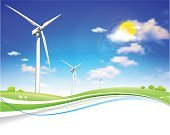 Wind Turbine,Wind,Nature,Summer,Industry,Turbine,Season,Vector,Electricity,Environmental Conservation,Landscape,Generator,Fuel and Power Generation,Sunlight,Field,Sun,Springtime,Sustainable Resources,Climate,Environment,Blade,Propeller,Blue,Green Color,Technology,Multi-generation Family,Sky,Meadow,White,Development,Cloud - Sky,Recycling,Turning,Energy,Choice,Grass