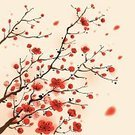 Cherry Blossom,Japan,Japanese Culture,Pattern,Flower,Chinese Culture,Retro Revival,Beauty In Nature,Red,Plum Blossom,Leaf,Floral Pattern,Tree,Springtime,Sakura,Ilustration,Nature,Elegance,China - East Asia,Design,Growth,Ink and Brush,East Asian Culture,Vector,Style,Branch