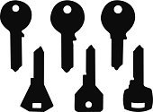 Silhouette,Key,Set,Isolated,Symbol,Ilustration,Vector,House Key,Black Color