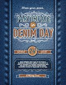 Denim,Jeans,Invitation,Day,Ribbon,Backgrounds,Text,Ilustration,Poster,Textured,template,Celebration,Design Element,Charity Event,Clothing,Party - Social Event,Vector,Textile,Event