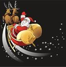 Santa Claus,Sleigh,Reindeer,Christmas,Ilustration,Gift,Vector,Celebration,Christmas,Holidays And Celebrations
