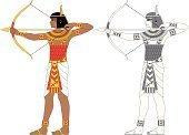 Arrow,Bow,The Past,Egypt,Sagittarius,Astrology Sign,Egyptian Culture,Archery,Feather,Indigenous Culture,Standing,Black Color,Black And White,Belt,Red,Bracelet,Africa,People,Human Hair,Isolated,Gold Colored,Design,Skirt,Ilustration,Gray,White,Cultures,Profile View,Human Leg,Vector,Male Animal,Jewelry,Necklace,Decoration,Male,Men,Human Hand