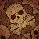 Seamless,Human Skull,Pattern,Backgrounds,Painted Image,Death,Pirate,Dead,Abstract,Halloween,Vector,Old-fashioned,Decoration,Retro Revival,Swirl,Shape,Fear,Tracery,Design,Obsolete,Decor,Beauty,Terrified,Single Flower,Wrapping Paper,Human Bone,Human Skeleton,Dark,Horror,Funky,Symbol,Textile,Spooky,Image,Ilustration,1940-1980 Retro-Styled Imagery,Leaf,Spiral,Paisley,Danger,Shock,Evil,Persian Culture