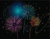 Firework Display,Backgrounds,Celebration,Vector,Fourth of July,Star Shape,Ilustration,Fete,Multi Colored,Night,Event,Exploding,Excitement,Igniting,Awe,Bright,Traditional Festival,Vibrant Color,Majestic,Joy,Illuminated,Showing,Fireball,Glowing,Illustrations And Vector Art,Concepts And Ideas,Sports And Fitness,Time