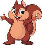 Squirrel,Ilustration,Cute,Cartoon,Humor,Vector,Smiling,Waving,Mascot,Waving,Standing,Rodent,Characters,Brown,Animals In The Wild,Mammal,Cheerful,Small,Fun,Happiness,Animal Hand