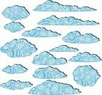 Cloud - Sky,Pattern,Posing,Sky,Isolated,Blue,Set,Abstract,Swirl,Collection,Curve,Shape