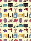 Appliance,Electricity,Cartoon,Vector,Hair Dryer,Symbol,Domestic Life,Electric Fan,Equipment,Toaster,Washing Machine,Oven,Group of Objects,Ilustration,Set,Electrical Equipment,Audio Equipment,Backdrop,Vacuum Cleaner,Technology,Pattern,Backgrounds,Wrapping Paper,Family,Home Interior,Seamless,Microwave,Refrigerator,Television Set,Speaker