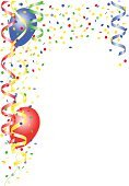 Streamer,Balloon,Fasching,Multi Colored,Frame,Confetti,Party - Social Event,Carnival,Event,Isolated,Decoration,Celebration,No People,Copy Space,Helium Balloon,Backgrounds,Colors