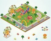 Isometric,Park - Man Made Space,Traveling Carnival,Map,Street,Mode of Transport,Tent,Road,Ilustration,Motorcycle,Car,Arch,Small,Ferris Wheel,Machinery,Fun,Railroad Track,Transportation,Travel Destinations,Tree,Gate,Sports Race,Parking Lot,Vector,Landscaped,Tornado,1940-1980 Retro-Styled Imagery,Cute,Toy,Entertainment,Pattern,Fence,Land Vehicle,Tiled Floor,Airplane