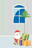 Domestic Room,Christmas,Snow,Santa Claus,Window,Indoors,Winter,Wallpaper,Pattern,Christmas Tree,Striped,Night,Blizzard,Ilustration,Gift,Glass - Material,12 O'Clock,Frame,Vector,Christmas Ornament,Sphere,Decoration,Snowflake,December,Celebrities,Arts And Entertainment,Midnight,Individuality,Light - Natural Phenomenon,Gift Box,Toy,one two three four,Holidays And Celebrations,Christmas,Blue,Season,Elegance,Holiday,Joy,Celebration,Green Color