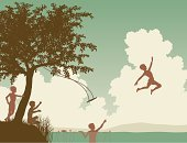 Child,Swing,Silhouette,Vector,Jumping,Fun,Courage,Lake,River,Childhood,Playful,Taking the Plunge,Playing,bankside,Taking Off,Ilustration,Carefree,Tree,Outdoors,text-space,Little Boys,Nature,Summer,Happiness,Leisure Games,Friendship,Copy Space,care-free,Outline