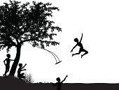 Swing,Silhouette,Little Boys,Tree,River,Jumping,Summer,Child,Nature,Black Color,Ilustration,Childhood,Outdoors,Taking Off,Taking the Plunge,Friendship,Outline,Copy Space,text-space,Playful,Courage,Lake,Design Element,care-free,Happiness,bankside,Playing,Carefree,Vector,Fun