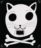 Domestic Cat,Death,Silhouette,Pirate,Animal Head,Dead,Animal,Lynx,Flag,Style,Design,White,Pets,Vignette,Ilustration,Vector,Insignia,Human Jaw Bone,Black Background,Animal Eye,Skull and Crossbones,Fang,Animal Bone,Animal Skull,Meowing,Animal Teeth,Animal Mouth,Halloween,Symbol,Black Color,Simplicity,Isolated