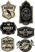 Label,Beer Bottle,Beer - Alcohol,Old-fashioned,Retro Revival,Halloween,Raven,Alcohol,Brewery,Cemetery,Crow,Vector,Bird,Text,Ghost,Black Color,Food And Drink,happy halloween,Toad,Rough,Design,Circle,White Background,Design Element,Textured,Set,October,Eyeball,Isolated On White