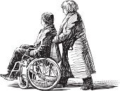Wheelchair,Sketch,Physical Impairment,Drawing - Art Product,Outdoors,Illness,Care,People,Isolated On White,Despair,Patient,Walking,Men,Women,Help,Adult,Wheel,Sitting,Weakness