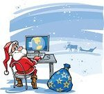 Santa Claus,Computer,Christmas,Internet,Cartoon,Sled,Fairy Tale,Snow,Holiday,Gift,Winter,Searching,Ilustration,Blue,Cold - Termperature,deers,Technology,Winter,aciculum,Christmas,Holidays And Celebrations,One Person,Beard,2007,Red,handcarves,Nature,Communications Technology