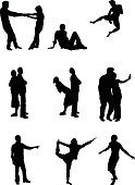 Dancing,Silhouette,Symbol,People,Heterosexual Couple,Couple,Icon Set,Men,Exercising,Women,Jumping,Variation,Love,Action,Vector,Stretching,Relaxation Exercise,Female,Adult,Play,Shape,Joy,Male,Unrecognizable Person,Cheerful,Design,Motion,Fun,Clip Art,Celebration,Conceptual Symbol,Ecstatic,Computer Graphic,Energy,Emotion,Design Element,Young Adult,Playing,Beauty,Cute,Positive Emotion,Playful,Carefree,Beautiful