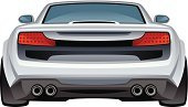 Rear View,Car,Sports Car,Behind,Modern,Bumper,Silver Colored,Vector,White,Extreme Sports,Ilustration,Backgrounds,Isolated On White,Technology,Luxury,Cool,Isolated,Driving,Sport,Machinery,Gray,Black Color,Transportation,Drawing - Art Product,Speed,Roadster,Style,Land Vehicle,Looking At View,Model,Single Object