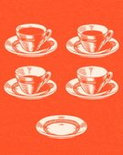 Orange Background,Illustration Technique,Full,Hot Chocolate,Cup,Saucer,Color Image,Ilustration,Five Objects,Caffeine,Colored Background,No People,Coffee Cup,Thirsty