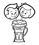 Ice Cream Parlor,Soda Fountain,Human Face,Line Art,Milkshake,Child,Sharing,Smiling,Drinking Straw,Illustration Technique,Affectionate,Emotion,Human Head,Childhood,Enjoyment,Joy,Boys,The Human Body,People,Outline,Cheerful,Black And White,Illustration,Two People,Girls,Facial Expression