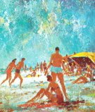 People,Beach,Sunbathing,Summer,Ilustration,Coastline,Group Of People,Setting The Table,Swimwear,Color Image,Colored Background,Large Group Of People,Tropical Climate,Sand,Blue Background,Season,Tourist,Fun,Vacations,Illustration Technique