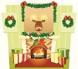 Fireplace,Christmas,Christmas Stocking,Wreath,Fire - Natural Phenomenon,Reindeer,Holiday,Vector,Comfortable,Garland,Ilustration,Holly,Candle,Flame,Gift,Ribbon,Christmas,Objects/Equipment,Holidays And Celebrations,Illustrations And Vector Art