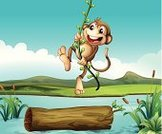 Swinging,Gorilla,Fun,Adventure,Blue,Photograph,Computer Graphic,River,Pond,Ilustration,Wood - Material,Leaf,Hill,Lake,Clip Art,Animal,Mammal,Vine,Reed - Grass Family,Plant,Image