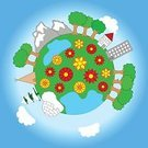 Symbol,House,Environment,Nature,Meadow,Mountain,Earth,Sky,Flower,Space,Stratosphere,Cartoon,Tent,Abstract,Ilustration,Painted Image,Water,Vector,Lake,Small,Ideas,Blue,Green Color,Concepts,Sphere,Tree,Plant,Cloud - Sky,Igloo,Planet - Space,Land,Forest,Drawing - Activity