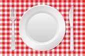 Silverware,Checked,Place Setting,Tablecloth,Plate,White,Red,Backgrounds,Blank,Plaid,Ilustration,Pattern,Vector,No People,Fork,Dinner,Table Knife,Kitchen Utensil,Crockery,Lunch,Arrangement,Equipment,Empty
