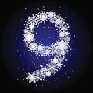 Blue,Winter,Snowflake,Snow,White,Backgrounds,Number 9,Ilustration,Ornate,Number,Vector