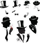 Top Hat,Bow Tie,Men,Monocle,Silhouette,Retro Revival,Old-fashioned,Hat,Pocket Watch,Eyeglasses,Ilustration,Pipe - Tube,Mustache,Stovepipe Hat,Elegance,Clothing,Portrait,Curve,Black Color,The Human Body,White,Cigarette,Suit,People,Style,high-hat,Male,tall hat,Cut Out,Tie,Cigar,Isolated,smoking cigarette,One Person,Fashion,Smoking Man,Watch,Design,Glamour,Personal Accessory