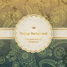 Invitation,Backgrounds,Anniversary,Gold Colored,Silk,Elegance,Frame,Pattern,Old-fashioned,Retro Revival,Paisley,Decoration,Wallpaper Pattern,Green Color,template,Crown,Textured,Nobility,Greeting Card