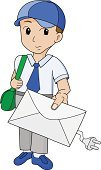 E-Mail,Ilustration,Delivering,Postal Worker,Vector,Characters,Clip Art,Service,Mail,Cartoon,Envelope,Occupation,Drawing - Art Product,Isolated,The Human Body,Transportation,Drawing - Activity,One Person,Holding