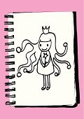 People,Fantasy,Black And White,Pink Color,One Person,Child,Teenager,Cut Out,Princess,Crown,Outline,Fairy,Magic Wand,Illustration,Line Art,Sketch,Teenage Girls,Girls,Doodle,Vector,Clip Art