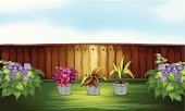 Scenics,Red,Purple,Gray,Heart Shape,Photograph,Flower Pot,Front or Back Yard,Dirt,Computer Graphic,Green Color,Brown,Flower,Plant,Sky,Fence,Lush Foliage,Leaf,Blue,Wood - Material,Long,Image,Clip Art