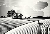 Farm,Woodcut,Field,Retro Revival,Old-fashioned,Barn,Rural Scene,Plowed Field,Agriculture,Cow,Urban Scene,Ilustration,Tree,Fence,Engraved Image,Food,Poster,Summer,Sunset,Label,Vector,Sky,Outdoors,Chimney,Striped,Backgrounds,Day,Cloudscape,Season,Dawn,Horse,Chicken Farm,Rough,Sun,Nature,Painted Image,landscape painting,Tranquil Scene,Horizontal,Print,Land,Sunlight,grass field,Springtime,Art Product