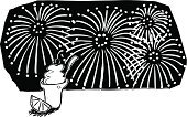 Firework Display,Black And White,Ice Cream,Traditional Festival,Shiny,Pen And Marker,Beauty,Summer