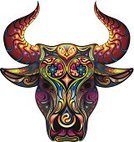 Bull - Animal,Outline,Rodeo,Tattoo,Cowboy,Cow,Multi Colored,Backgrounds,Vector,Mottled,Taurus,Pattern,Image,Vibrant Color,Ilustration,Symbol,Strength,Hat,Indigenous Culture,Mammal,Astrology,Sign,Animal,Swirl,Decoration,Cattle,Fun,Ornate,Ox,Horned